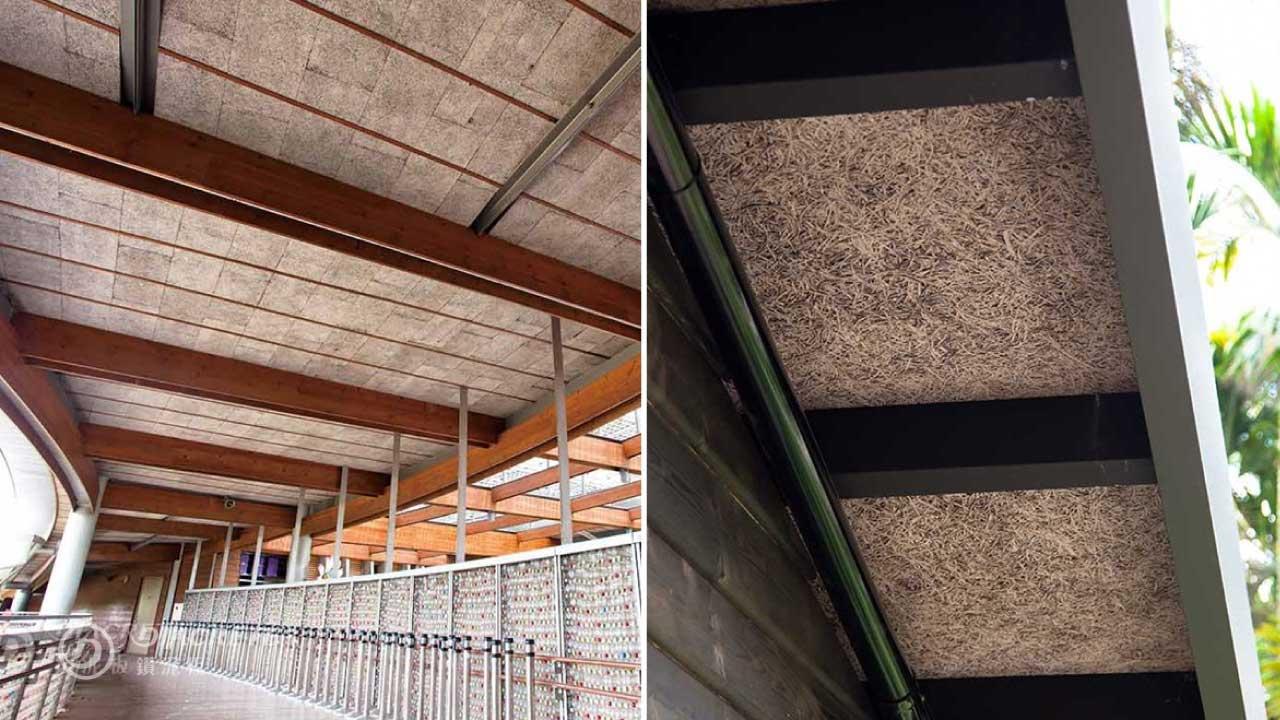 鑽泥板由天然木絲和水泥組成,擁有低熱傳導係數、無毒、耐燃、多用途等優點。左為台北圓山花博公園新生園區「夢想館」案例,由建築師張清華設計。