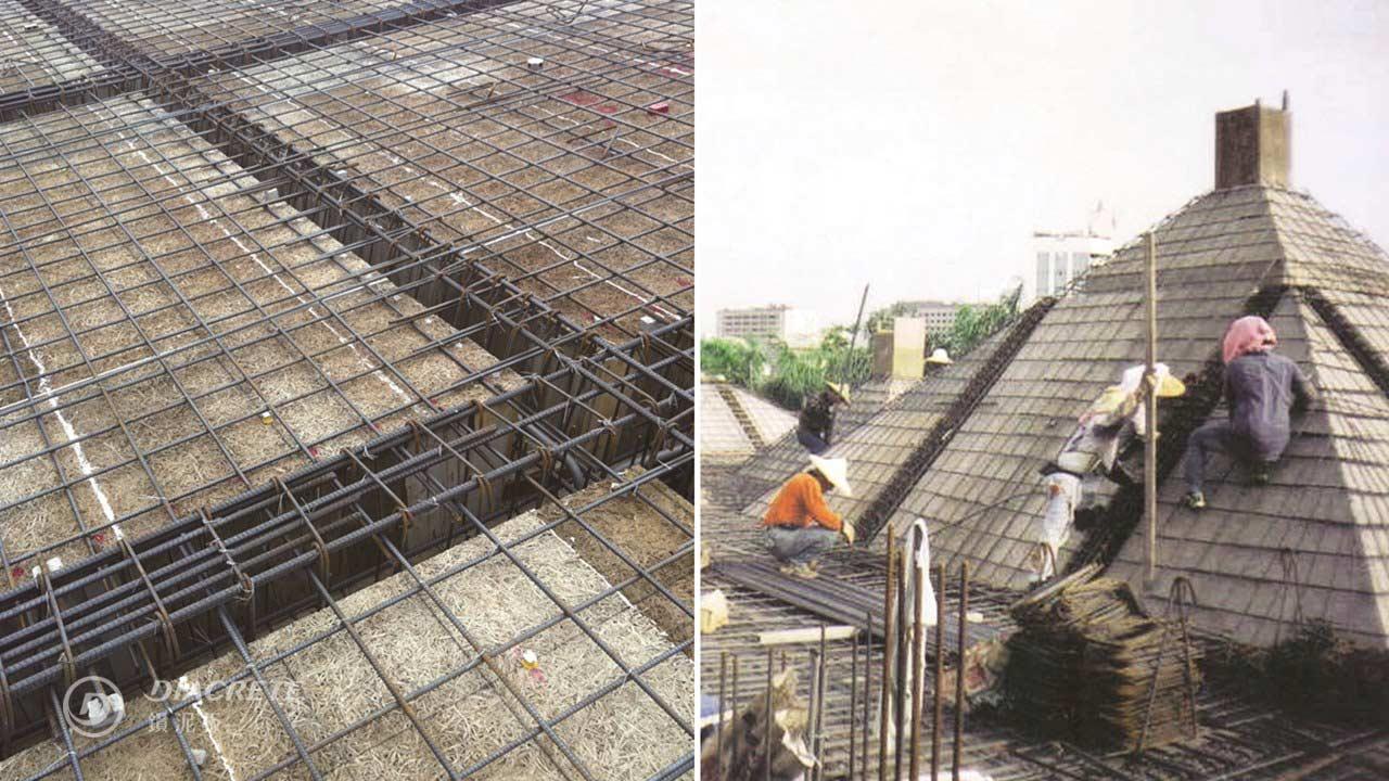 鑽泥板灌漿模板施作過程,右為宜蘭小學施工過程,由黃建興建築師事務所設計。