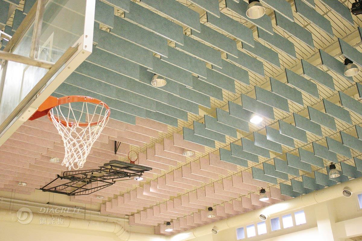 鑽泥板可透過表面噴塗水性漆後,讓障板天花板呈現多彩視覺。圖為台北市萬興國小運動中心案例。