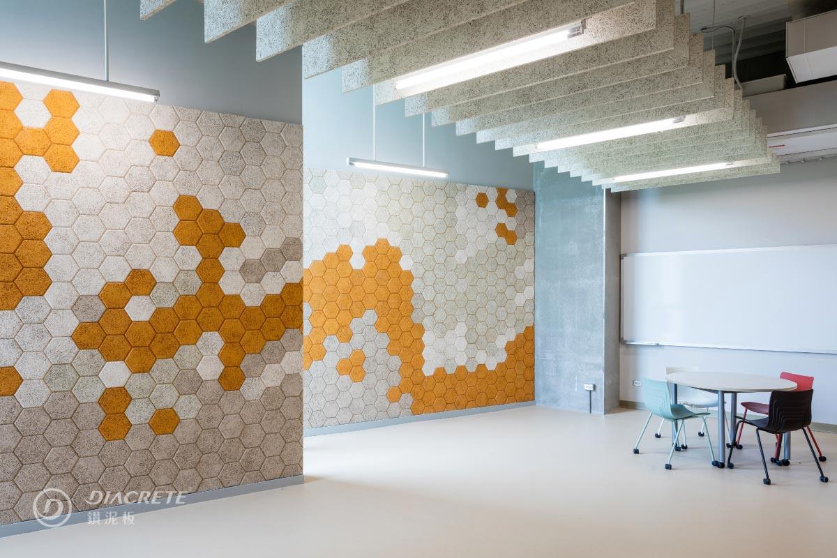 鑽泥板有大板片、吸音障板、六角磚等不同規格,並可用於吸音與隔熱,應用多元。(圖為政治大學達賢圖書館案例)